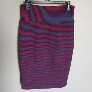 LuLaRoe Cassie Pencil skirt blue and red stripes